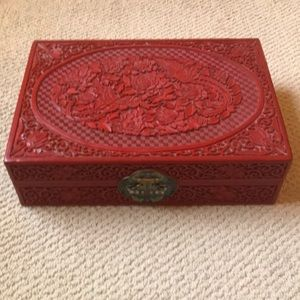EUC Vintage Cinnabar Wood Jewelry Box